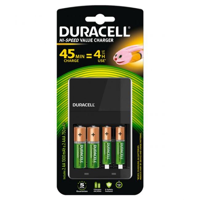 Duracell CEF14 punjač baterija sa 2 AA 1300mAh i 2 AAA 750mAh punjive baterije